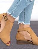 hesapli Kadın Etekleri-Kadın's Sandaletler Düz Taban Burnu Açık PU Yaz Siyah / Sarı / Gri