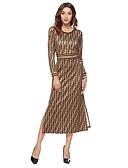 hesapli Kadın Elbiseleri-Kadın's Kılıf Elbise - Geometrik, Bölünmüş Midi