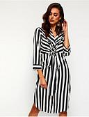 hesapli Print Dresses-Kadın's Temel Gömlek Elbise - Çizgili, Desen Midi
