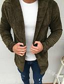 hesapli Erkek Ceketleri ve Kabanları-Erkek Günlük Temel AB / ABD Beden Normal Kaban, Solid Kapşonlu Uzun Kollu Polyester Siyah / Ordu Yeşili / Salaş