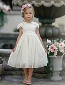 hesapli NYE Elbiseleri-Çocuklar Genç Kız sevimli Stil Solid Kısa Kollu Midi Elbise Beyaz