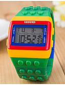Недорогие Детские часы-Жен. Дамы электронные часы Квадратные часы Цифровой Будильник Календарь Секундомер Цифровой Конфеты Мода Дерево - Желтый Красный Два года Срок службы батареи / ЖК экран / Desay CR2025