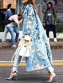 זול מעילים ובלשיות לנשים-בגדי ריקוד נשים יומי ארוך מעיל, גיאומטרי צווארון מתקפל שרוול ארוך פוליאסטר כחול בהיר / פוקסיה