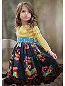 povoljno Haljine za djevojčice-Djeca Djevojčice Slatka Style Cvjetni print Dugih rukava Do koljena Haljina Navy Plava / Pamuk