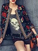 hesapli İki Parça Kadın Takımları-Kadın's Blazer Bebe Yaka Polyester Siyah / Bej