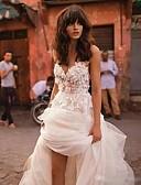 זול שמלות שושבינה-נשף צווארון V שובל כנסייה (צ'אפל) תחרה / טול שמלות חתונה עם אפליקציות על ידי LAN TING Express