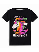 זול חולצות לבנות-טישירט שרוולים קצרים דפוס Unicorn בסיסי בנות ילדים
