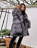 cheap Women's Fur & Faux Fur Coats-Women's Party / Daily Basic Winter Regular Faux Fur Coat, Solid Colored Hooded Long Sleeve Faux Fur Gray