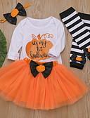 זול סטים של ביגוד לתינוקות-סט של בגדים כותנה שרוול ארוך דפוס / חג ליל כל הקדושים סגנון רחוב בנות תִינוֹק / פעוטות