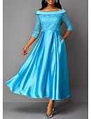 billige Kjoler med tryk-Dame Basale Swing Kjole - Ensfarvet, Blonder Maxi