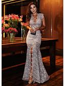 povoljno Haljine za NG-Žene Party Elegantno Sirena kroj Haljina - Čipka, Geometrijski oblici Duboki V Maxi