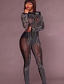 זול סרבלים ואוברולים לנשים-S M L דפוס אחיד, סרבלים ישר שחור צהוב בגדי ריקוד נשים