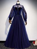 זול שמלות נשף-גזרת A צווארון גבוה עד הריצפה טול נשף רקודים שמלה עם פפיון(ים) / כפתורים על ידי LAN TING Express