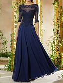 povoljno Večernje haljine-A-kroj Ovalni izrez Do poda Šifon Formalna večer Haljina s Perlica / Aplikacije po LAN TING Express