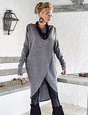 billige Jumpsuits og sparkebukser til damer-Dame Ensfarget Langermet Pullover, Rund hals Lyseblå / Mørkegrå S / M / L