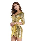 お買い得  レディースドレス-女性用 エレガント スリム シース ドレス ソリッド 膝上 ディープVネック / セクシー