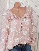 זול חולצה-פרחוני חולצה - בגדי ריקוד נשים דפוס שחור / אביב / סתיו