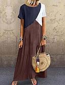 hesapli Maksi Elbiseler-Kadın's Temel Tişört Elbise - Zıt Renkli, Kırk Yama Maksi