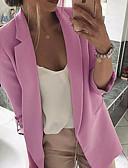 billige Blazere til damer-Dame Blazer, Ensfarget Hakkjakkeslag Polyester Svart / Rosa / Grå