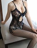 povoljno Seksi tijela-Žene Mrežica Bodysuits Noćno rublje Jednobojni / Žakard Crn One-Size