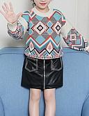 お買い得  女児 セーター&カーディガン-子供 女の子 ベーシック プリント 長袖 セーター&カーデガン ネイビーブルー
