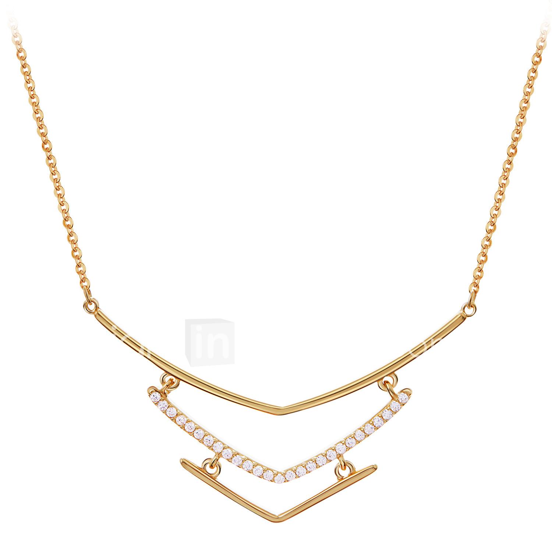21c9f4946caa Mujer Collares con colgantes Collares de cadena Chapado en oro 18K S925  Sterling Silver Delicado damas
