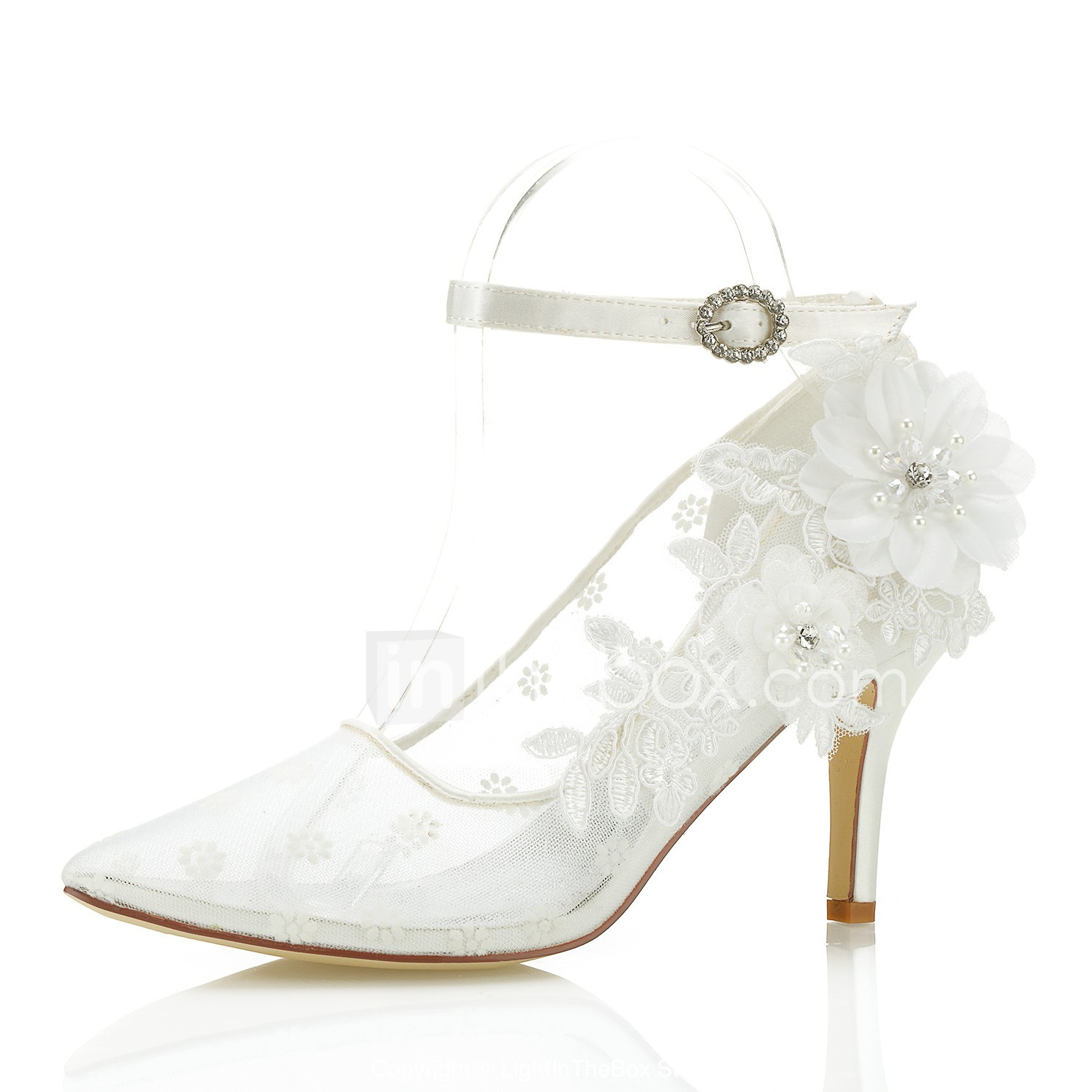 2da75ac0ea09 Women s Pumps Mesh Spring   Fall Sweet Heels Stiletto Heel Pointed Toe Satin  Flower Ivory   Wedding   Party   Evening   3-4   Party   Evening  06940935