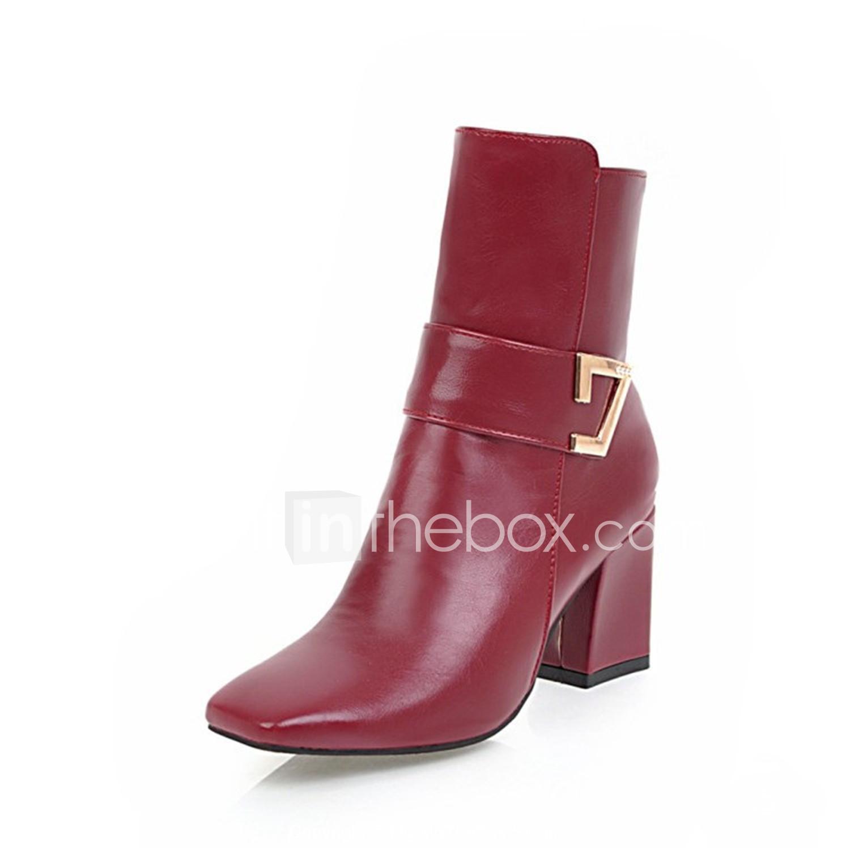 c45e262b379 Women's Boots Fashion Boots Chunky Heel Square Toe PU(Polyurethane ...