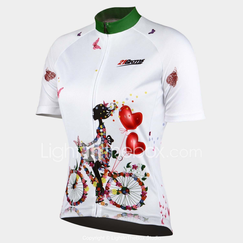 e6f0612531 21Grams Mujer Manga Corta Maillot de Ciclismo - Blanco Flores   Botánica Bicicleta  Camiseta   Maillot