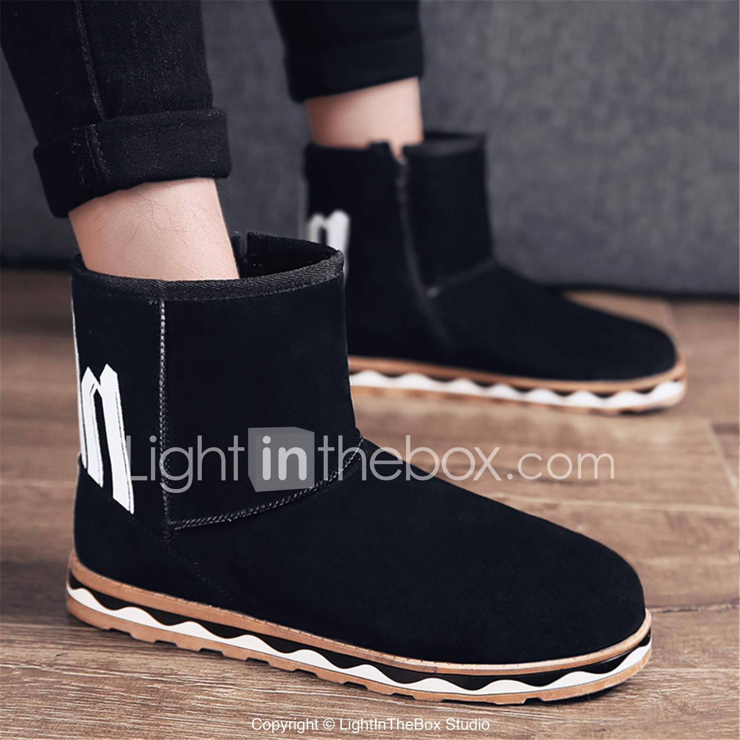 Men's Comfort Shoes Faux Leather Winter Casual Boots Keep Warm Mid-Calf  Boots Black /