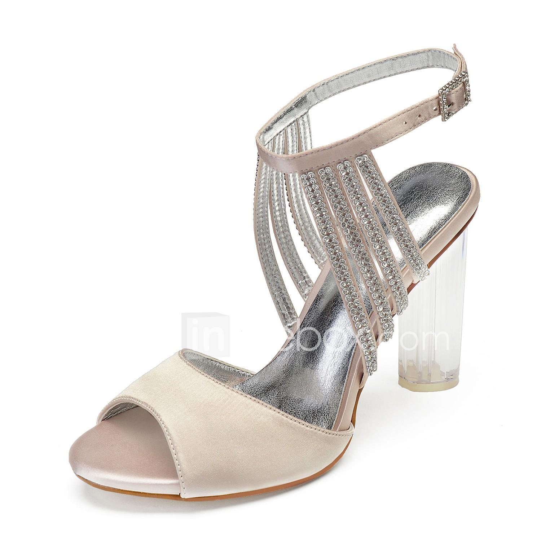 10b0079a0 Mulheres Cetim Primavera Verão Doce Sapatos De Casamento Salto Alto de  Cristal Peep Toe Pedrarias /