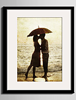 Romance Landscape People Framed Canvas Framed Set Wall Art,PVC Material  With Frame For Home