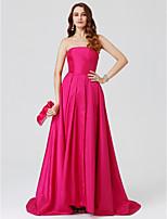 Cheap Wedding Guest Dresses Ball Gown Strapless Sweep Brush Train Taffeta Formal Evening Dress