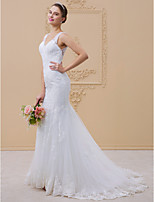 Mermaid Trumpet V Neck Chapel Train Lace Tulle Wedding Dress With Beading Appliques