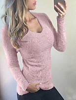 preiswerte Damen Pullover-Damen Alltag Grundlegend Solide Langarm Skinny  Standard Pullover, U-Ausschnitt 2b5c167227