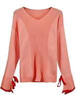 preiswerte Damen Pullover-Damen Alltag Solide Langarm Schlank Standard  Pullover Schwarz   Rosa   Khaki bfeb2f8731