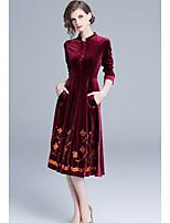 8917a4ff6bc levne Dámské šaty-Dámské Základní Pouzdro Šaty - Jednobarevné   Květinový  Délka ke kolenům