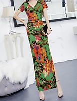 b5ed1a463148 billiga Damklänningar-kvinnors midi mantel klänning v nack grön s m l xl