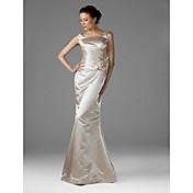 Gulvlange satin brudepige kjole - trompet / havfrue kvadrat plus størrelse / petite med sidedrapering af ts couture®