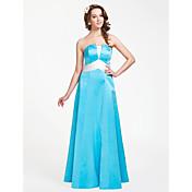 Corte en A Princesa Sin Tirantes Hasta el Suelo Satén Vestido de Dama de Honor con Fruncido por LAN TING BRIDE®