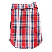 犬用品 Tシャツ レッド ブルー 犬用ウェア 春/秋 格子柄 カジュアル/普段着