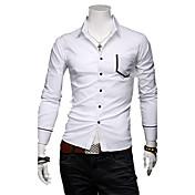 Hombre Causal Polka Dot fina camisa de manga larga