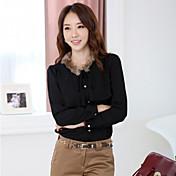 JANEファンカジュアル毛皮の襟長袖シフォンシャツ