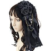 Joyas Gosurori Para la Cabeza Princesa Hombre Mujer Negro Accesorios de Lolita Lazo Tocados Tela de Encaje Gemas Artificiales Legierung
