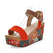 Mujer Zapatos Ante Primavera Verano Plataforma para Casual Negro Naranja Verde