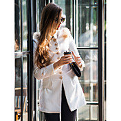 Mujer Casual Calle Invierno Abrigo Color sólido Lana Poliéster Largo Retro Elegante