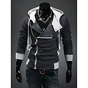 DJJMメンズファッションレジャーサスペンションフードは自分の道徳カーディガンフリースコート(ダークグレー)の育成