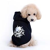 犬 パーカー 犬用ウェア コットン 春/秋 ファッション スカル コスチューム ペット用