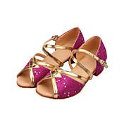 Mujer Zapatos de Baile Latino / Salón Brillantina Sandalia Lentejuela / Purpurina Tacón Bajo No Personalizables Zapatos de baile Oro /
