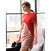 女性用 シフト ドレス - プリーツ, カラーブロック ハイライズ ボートネック